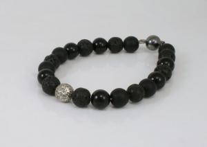 Askraal armband met lavasteen en onyx