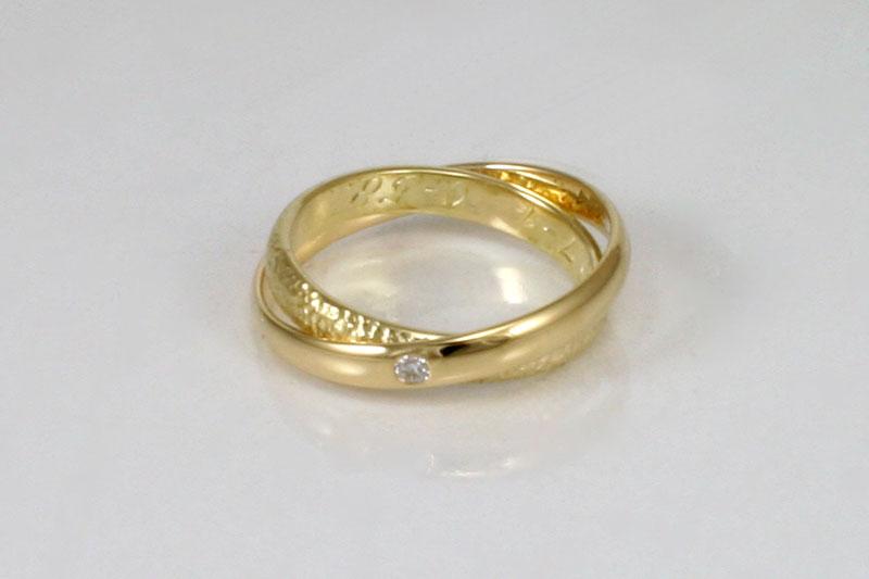 Samengevoegde Trouwringen Met Diamant Goudsmederij Ouro
